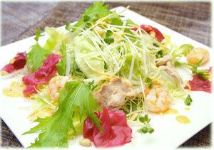 蒸し鶏と小海老のアジアンサラダ